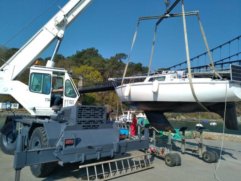 manutention, rematage d'un voilier