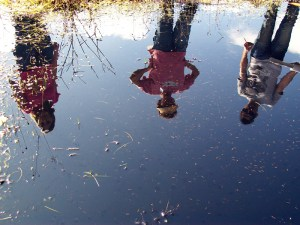 University of San Diego Researchers at a vernal pool with fairy shrimp. Photo by Katie Davis.