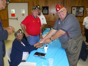 Jerry Hedrick, on right, visited Post 6 for a Division III meeting in 2011
