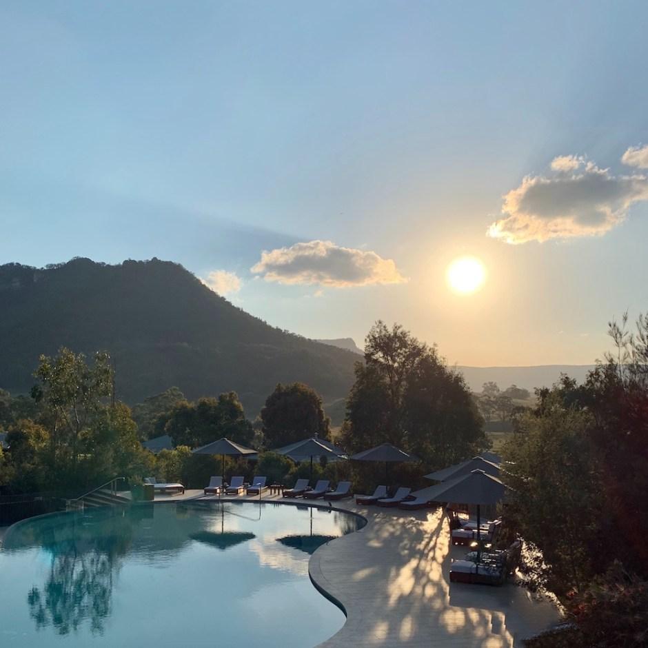 Wolgan Valley pool sunset