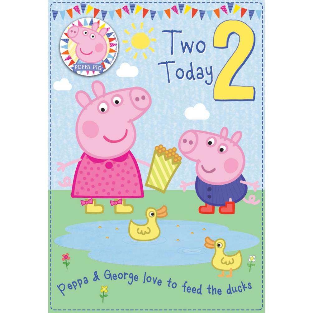 2 Today Peppa Pig Birthday Card With Badge 300642