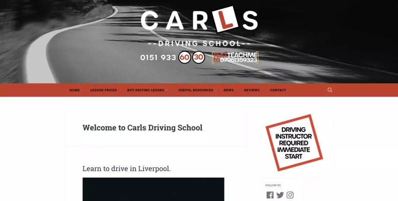 Website Design Liverpool for Carls Driving School