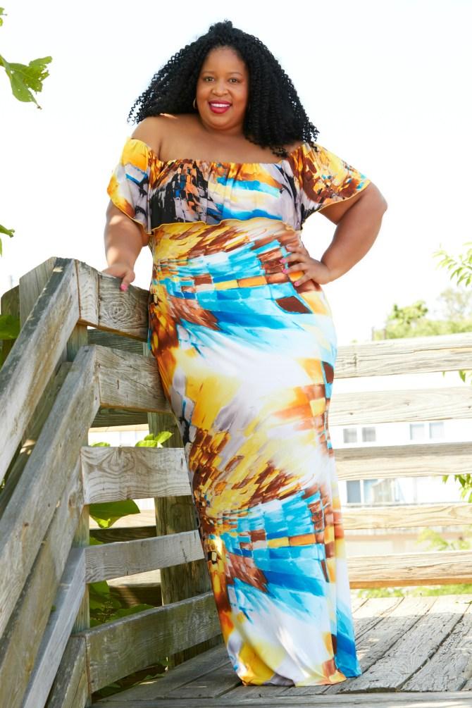 Chardline Wearing Plus Size Maxi Dresses