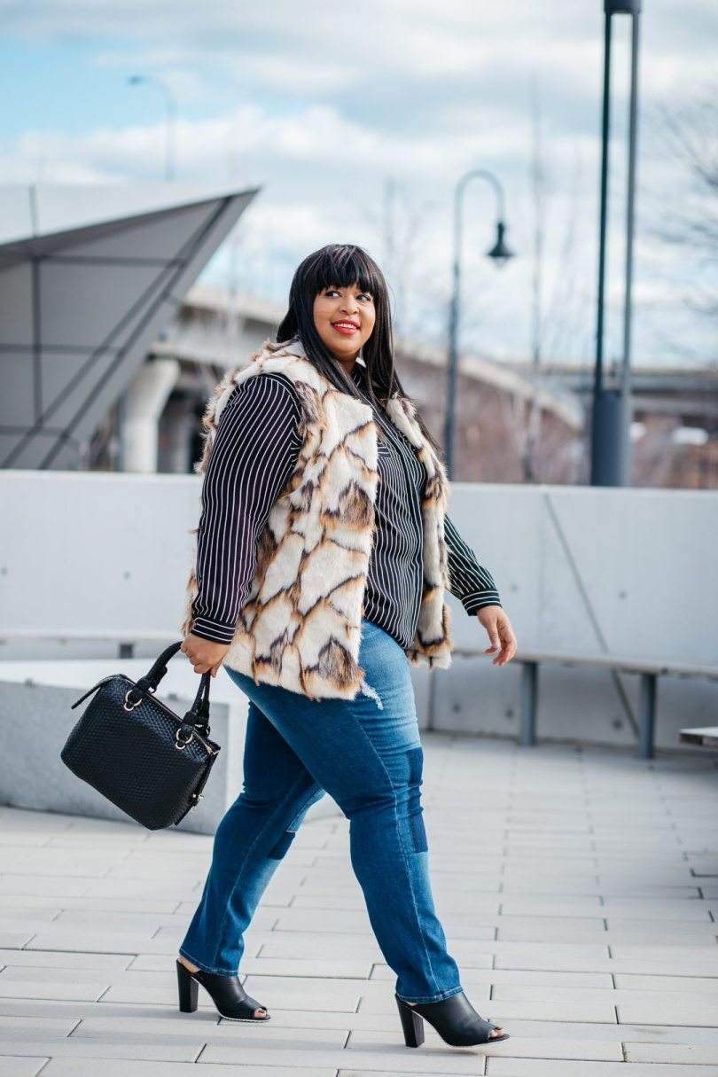 Plus Size Blogger Mixing Prints and Plus Size Fur Vest