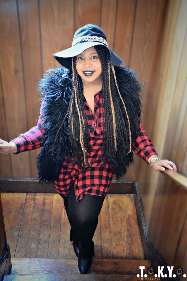 Hat: Sears Dress: C/O Pinkclubwear Vest: Ashley Stewart Tights: Lane Bryant (Fleece) Booties: JustFab