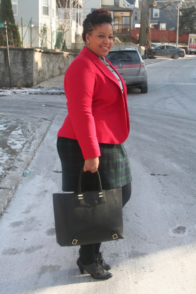 Blazer: Dia&Co Skirt: Thrifted Denim Top: American Eagle Tights and Jewelry:  Lane Bryant Heels: Aldo Bag: Just Fab