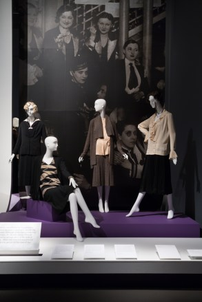 "Installation view of the ""Le Monocle"" platform in the exhibition A Queer History of Fashion: From the Closet to the Catwalk. Photograph © The Museum at FIT, New York."