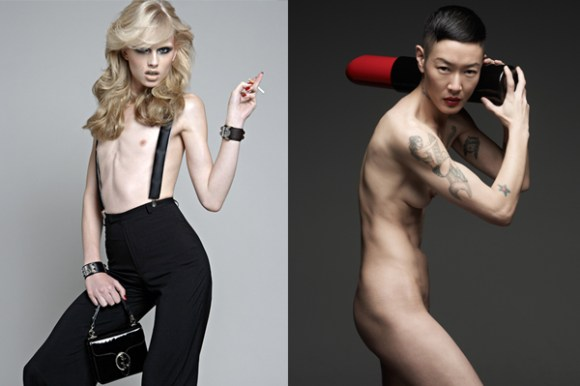 (left) Model Andrej Pejic, originally printed in SCHON (Issue 14), Photograph by Christos Karantzolas. (right) Model Jenny Shimizu, Helmut Red campaign. Photograph by Mark Seliger. Photos courtesy The Museum at FIT.
