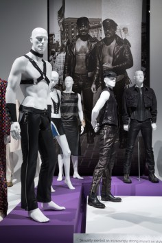 """Installation view of the """"Leather"""" platform in the exhibition A Queer History of Fashion: From the Closet to the Catwalk. Photograph © The Museum at FIT, New York."""