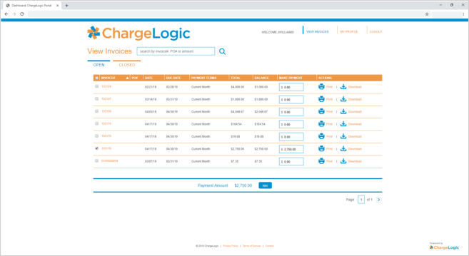 ChargeLogic Payment Portal View Invoices Screen