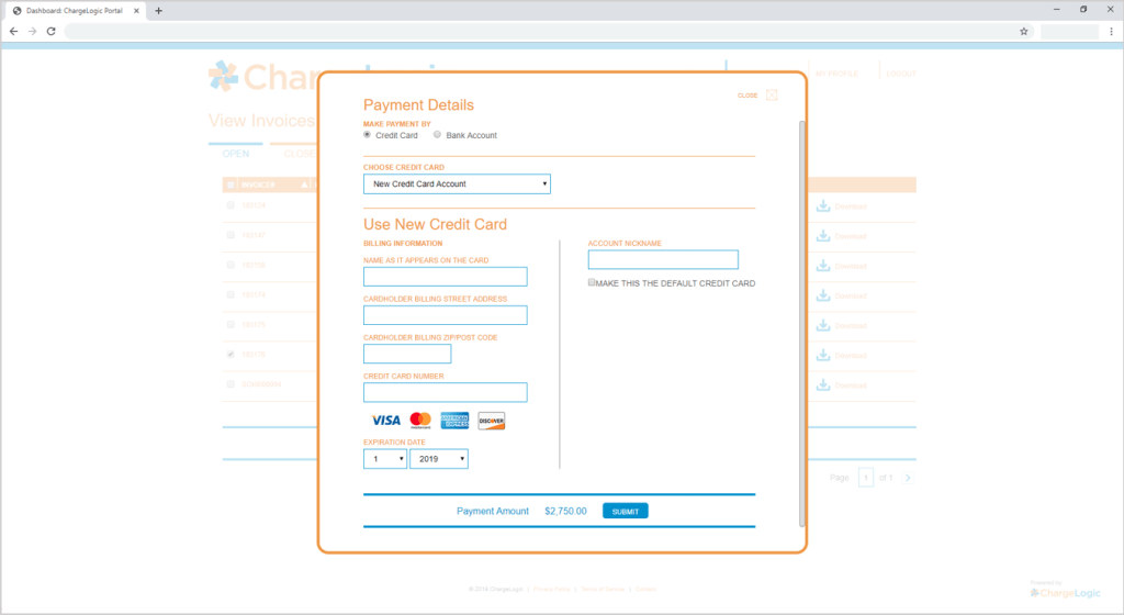 Select credit card on file, ACH, or enter credit card payment details in the ChargeLogic Payment Portal.