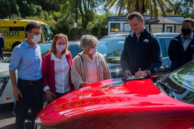 California Governor Gavin Newsom signs an Executive Order banning the sale of new gas and diesel vehicles by the year 2035.