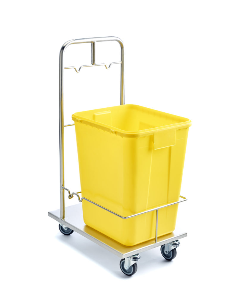 Chariot avec bac jaune