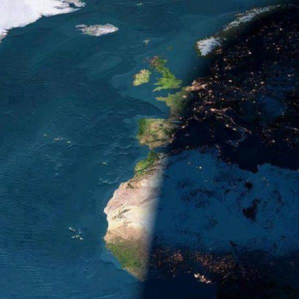 Sun Setting Day & Night Image