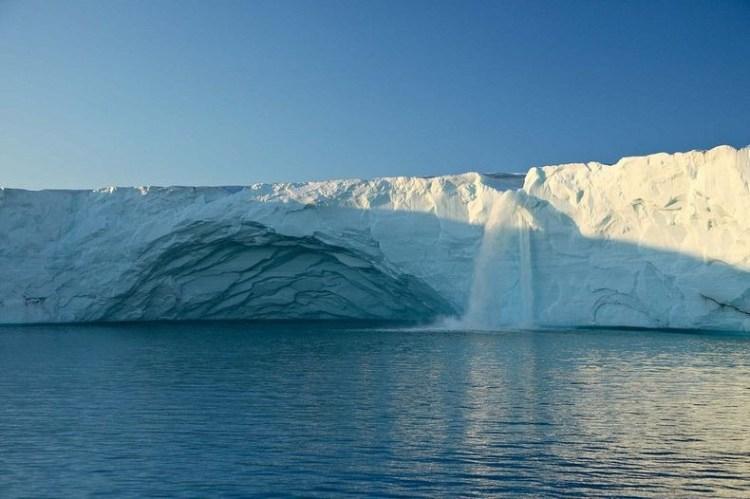 Stunning Glacier Waterfall in Svalbard Norway