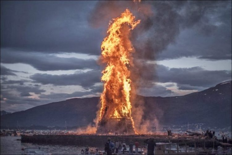 The annual festival, which ignited the biggest bonfire in the world, held in honor of the birth of John the Baptist in the city of Alesund, Norway.