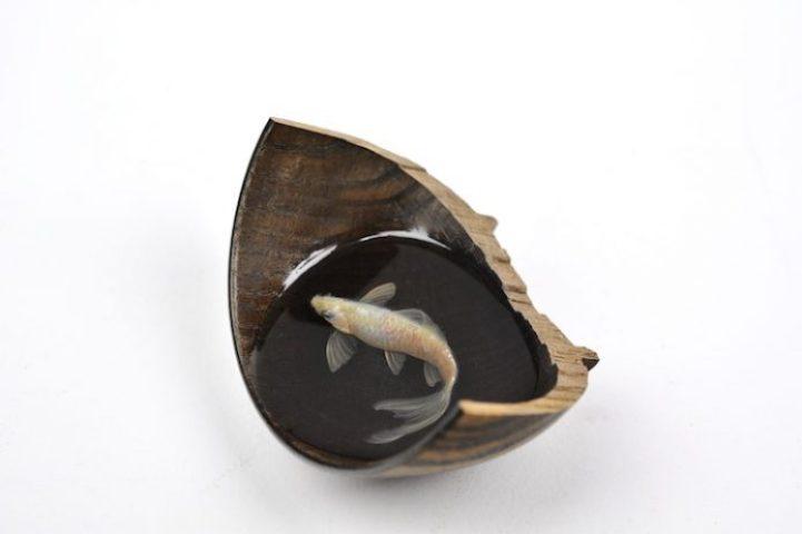 Warewan ni Byaku Wood bowl, resin, acrylic 2013