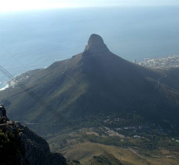 A view of Lion's Head as seen from near the Upper Cable Station on Table Mountain