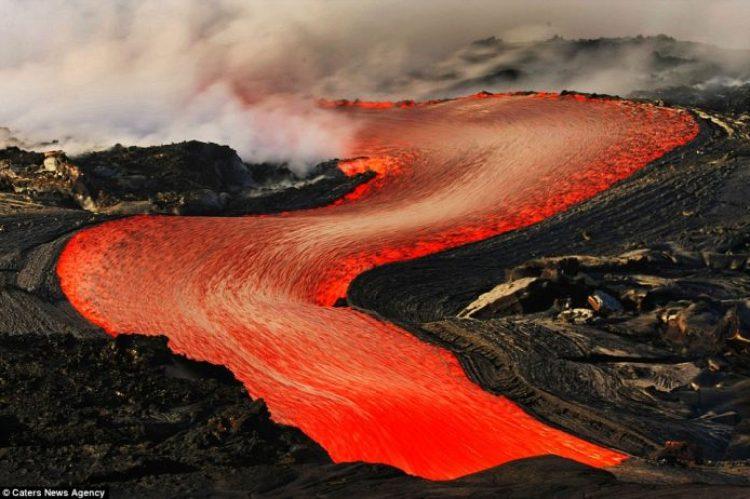 Lava crashing into the Sea off Hawaii21