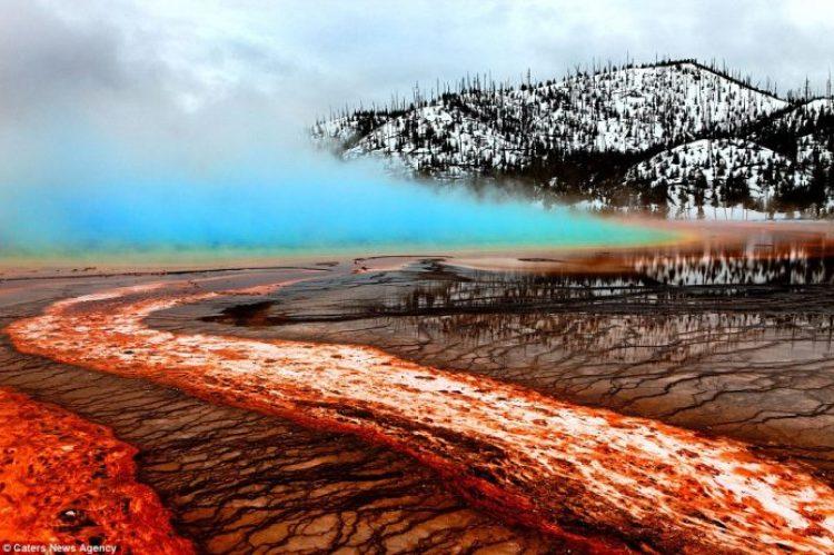 Lava crashing into the Sea off Hawaii22