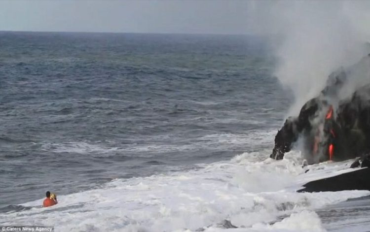 Lava crashing into the Sea off Hawaii5