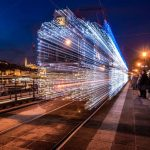 "30,000 LED Lights Make the ""Trams"" Looks like Time Machines"