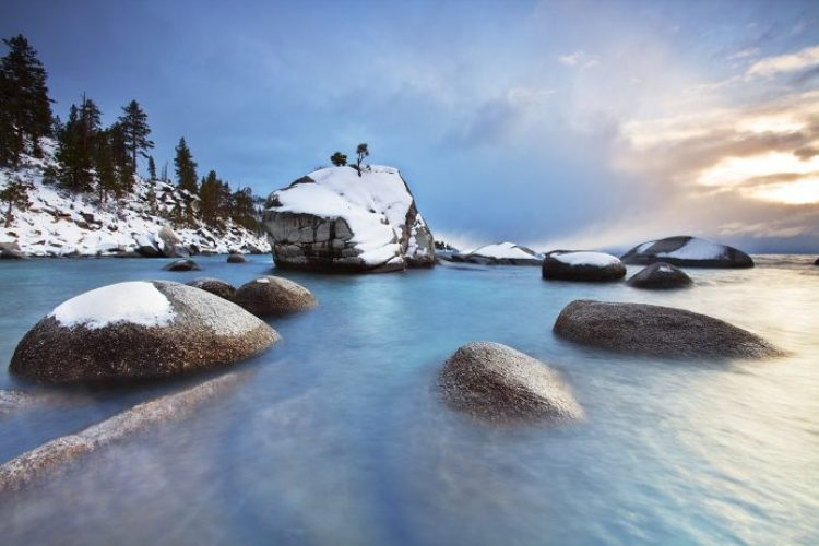 Winter on Bonsai Rock:  Lake Tahoe, Nevada