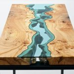 Elegant Discarded Wood Tables Embedded with Glass Rivers