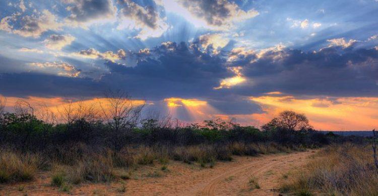 Crepuscular rays at sunset near Waterberg Plateau (Wabi Game Ranch) in Namibi