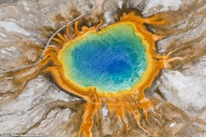 The Grand Prismatic Spring in Yellowstone National Park looks like an alien volcano from above