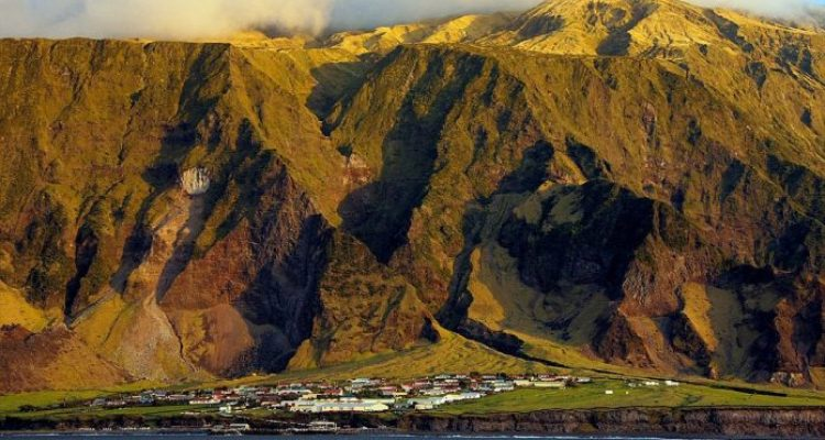 Tristan da Cunha's only settlement, Edinburgh of the Seven Seas, is built on the flat below the 6,765-foot volcano Queen Mary's Peak