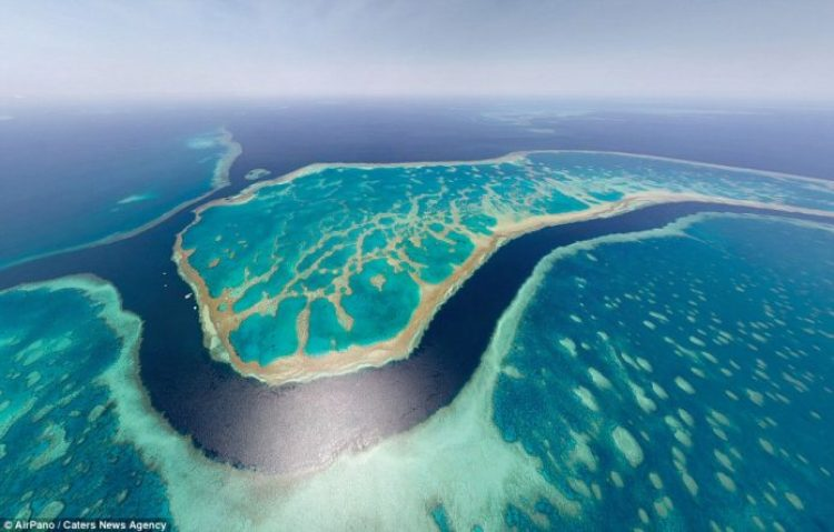 Looking down, down under! Australia's barrier reef looks a brilliant shade of turquoise in this landscape capture