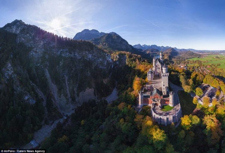 Looking like something out of a fairy tale is Neuschwanstein Castle in Germany, captured in the midst of the rolling mountains