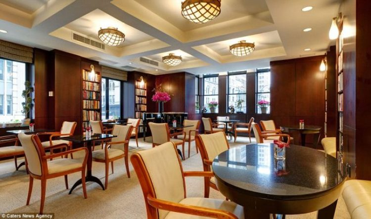 The hotel's reading room offers dozens of books, and each guest room contains up to 150 titles related to specific genres or topics