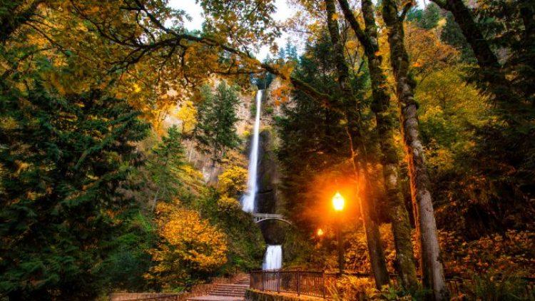 Fantastic Multnomah Falls Park In Oregon Hdr HD Desktop Background