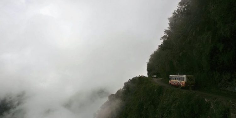 The North Yungas Road in Bolivia is beautiful but also known as the world's most dangerous road because of its single lanes, tight turns, and steep drop-offs.