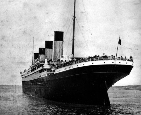 RMS Titanic as she leaves Southampton on her maiden voyage (April 10, 1912)