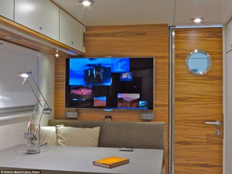 The company's website describes the vehicle as a 'luxury all-wheel motorhome' that specialises in 'long stays in off-road terrain' and comes with a 'homely atmosphere'