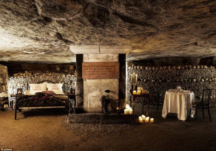 The room comes with a double bed, a bedtime storyteller and six million skeletons including that of fabulist, Jean de la Fontaine