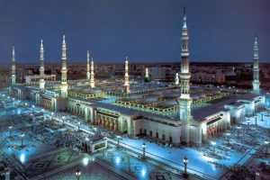 The stunning Al-Masjid an-Nabawi with its large pillars and canopies in Medina, Saudi Arabia