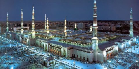 The stunning Al-Masjid an-Nabawi with its large pillars and canopies in Medina, Saudi Arabia