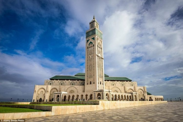 The unique Hassan II Mosque in Morocco stands tall on the horizon and record books, taking the title for the world's tallest mosque at an incredible 689ft