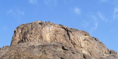 The Cave (Ghar-e-Hira) is situated on mount Al-Noor on way to Mina near Makkah and its peak is visible from a great distance.