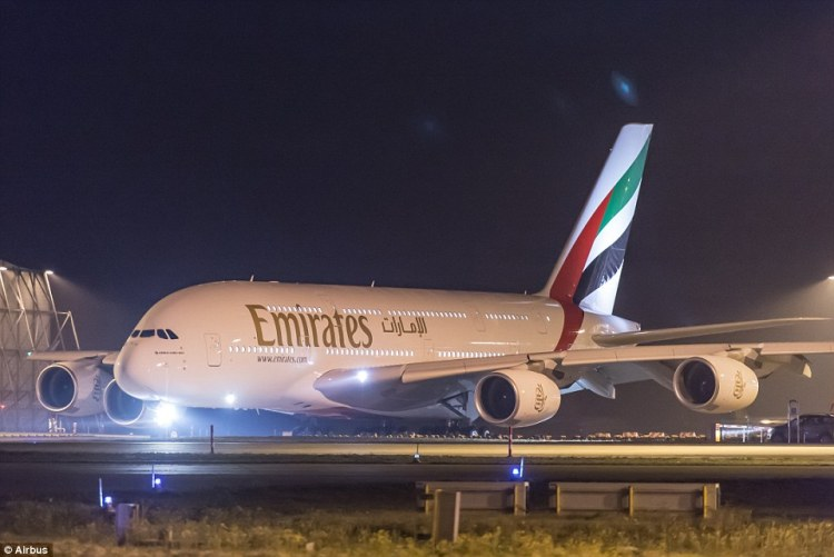 Emirates' first two-class A380 prepares to take off from an Airbus plant in Hamburg, Germany, for the Dubai Airshow earlier this month
