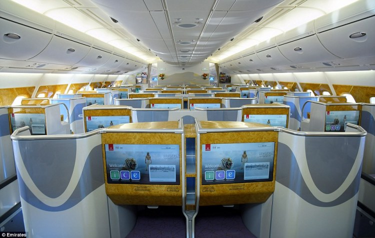 In the two-class configuration, Emirates' Airbus A380 planes will carry 58 passengers in business class, which offers lie-flat seats