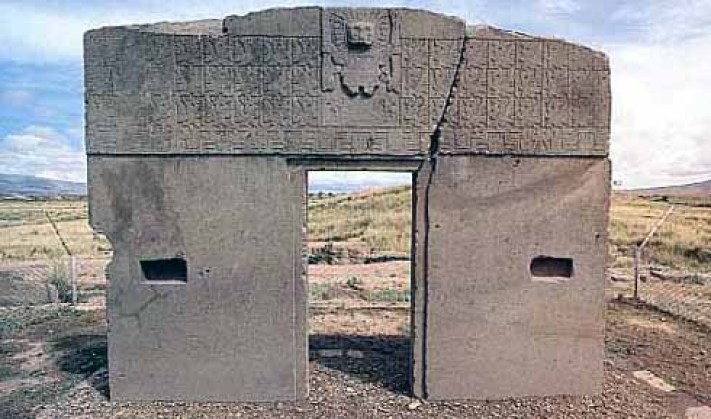 The Gate of Sun is constructed by Tiwanaku culture of Bolivia more than 1500 years ago.
