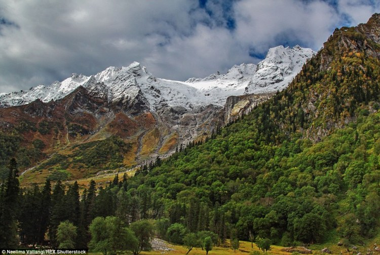 After a night of heavy snowfall in Kinnaur district of Himalayas, the mountains transform into a landscape full of colourful contrasts