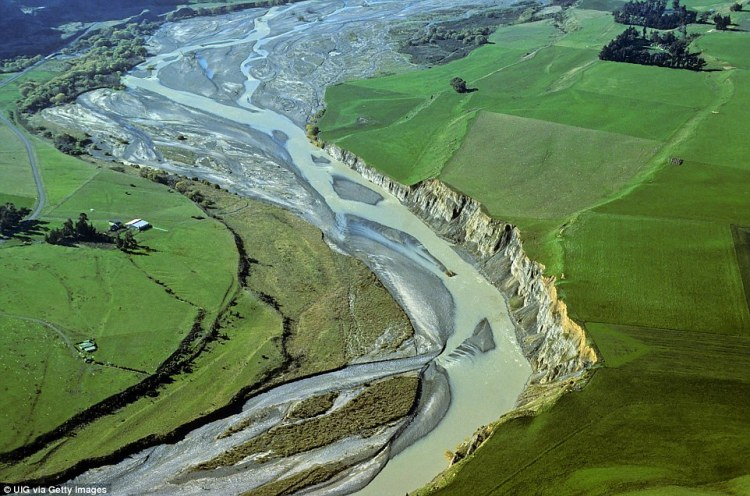 Erosion shapes the path of the Awatere River in Marlborough, New Zealand, creating beautiful patterns when captured from above