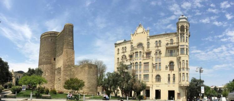 """The Maiden Tower, also called """"Giz Galasi"""" is located in the old city of Baku in Azerbaijan."""
