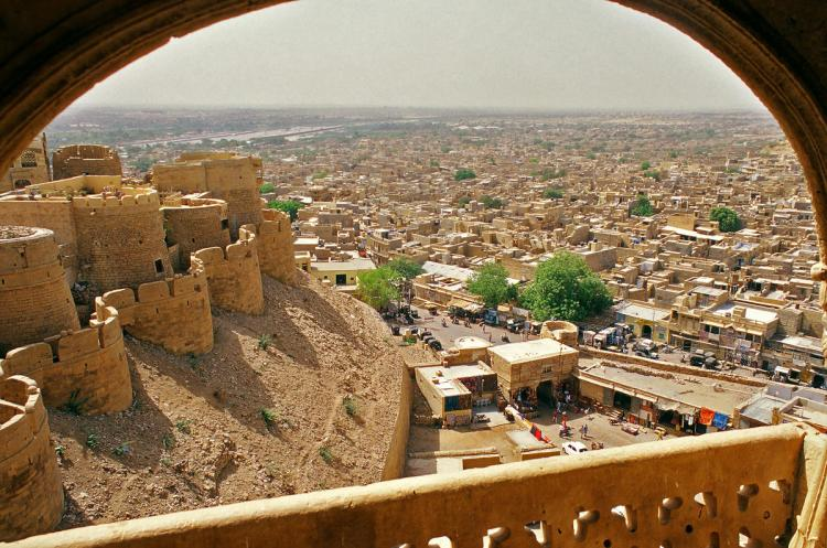 The Jaisalmer Fort is 1500 feet long, 750 feet wide actually built on a hill that raises above a height of 250 feet.